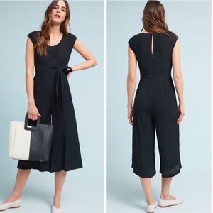 Anthropologie Black Gauze Wide Leg Crop Jumpsuit 4